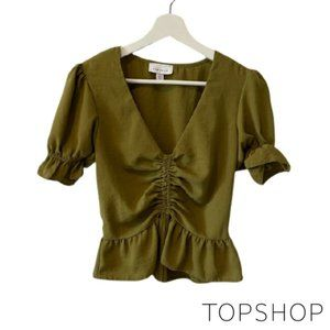 Topshop Olive Green Ruched Crop Top
